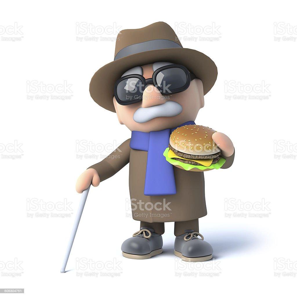 3d Blind man eats a burger royalty-free stock photo