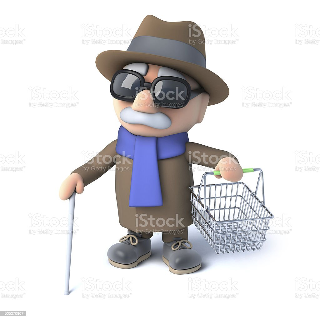 3d Blind man holding an empty shopping basket royalty-free stock photo