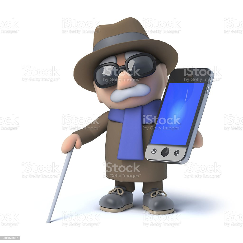 3d Blind man using his smartphone royalty-free stock photo