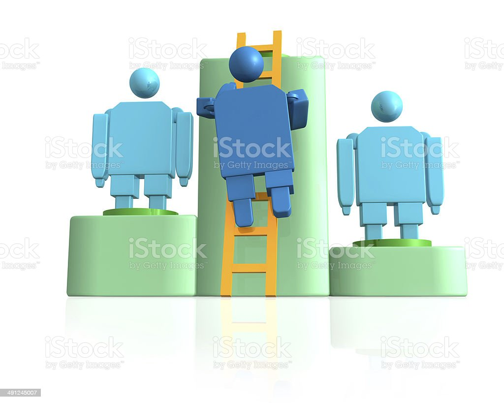 3d Blocky Blue Man Walking To A Ladder Between Opponents stock photo