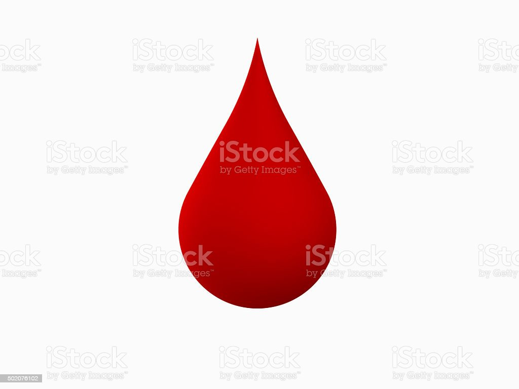 3d blood drop on white background stock photo