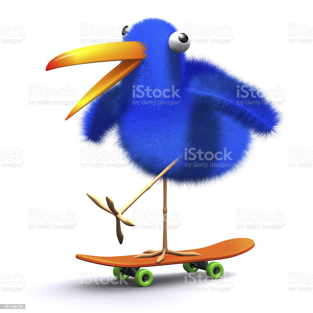 3d Blue bird skateboard royalty-free stock photo