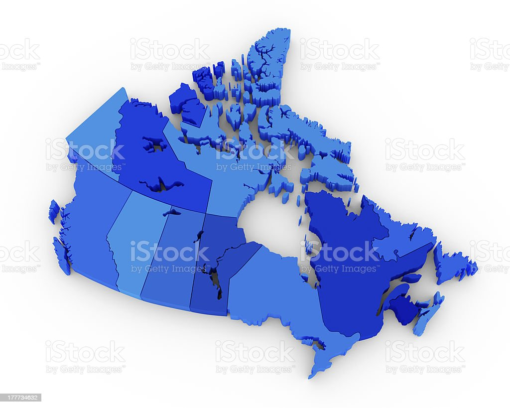 3d blue canada map on white stock photo