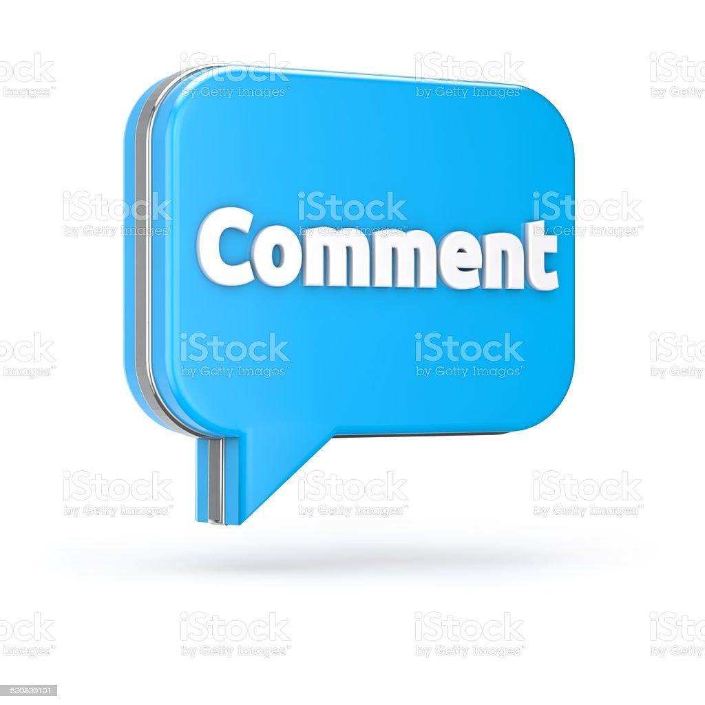 3d blue comment bubble stock photo