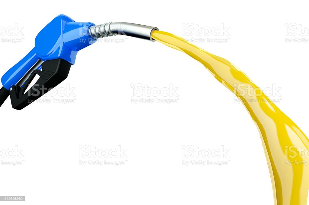 3d blue Fuel nozzle with hose isolated on white background stock photo