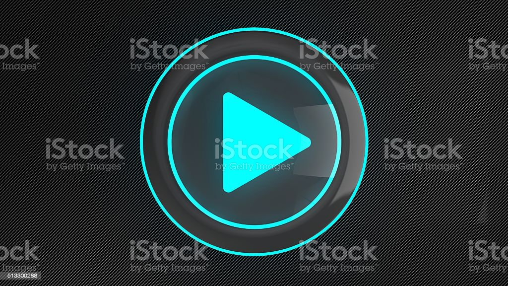 3d blue glowing play button on carbon stock photo