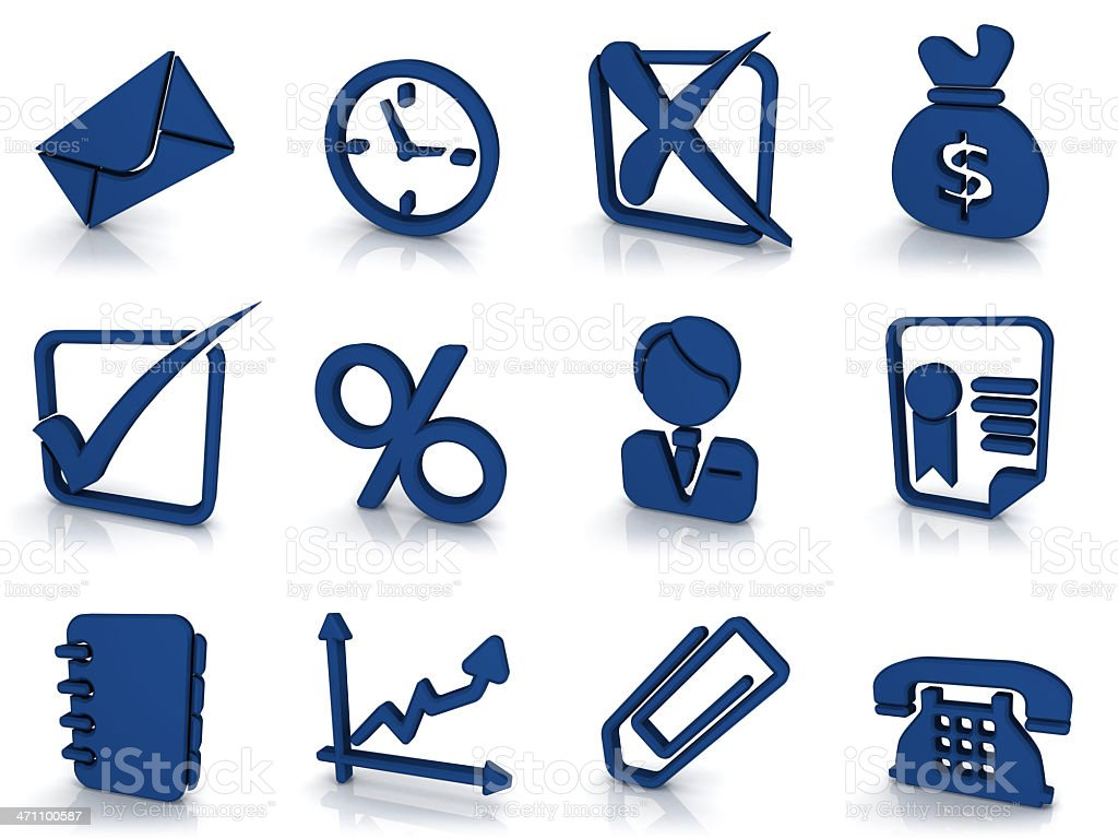 3d blue icons - business royalty-free stock photo