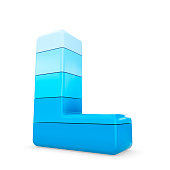 3d blue letter L isolated white background.
