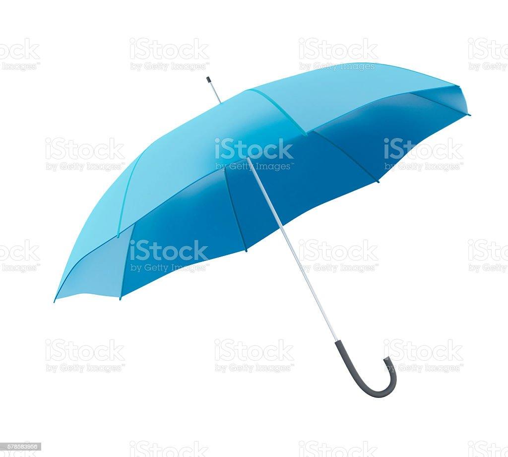 3d Blue umbrella against white background. stock photo