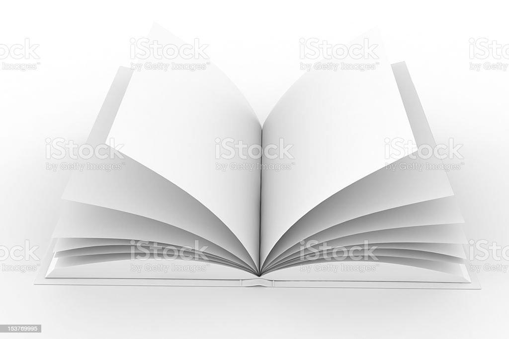 3d books with pages , isolated on white royalty-free stock photo