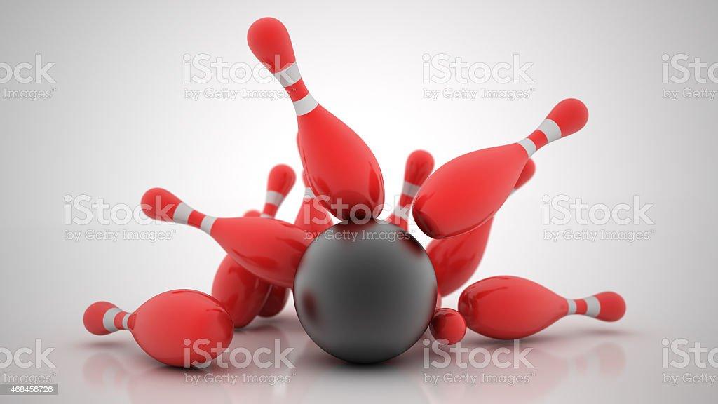 3d Bowling Ball crashing into the pins. High resolution stock photo