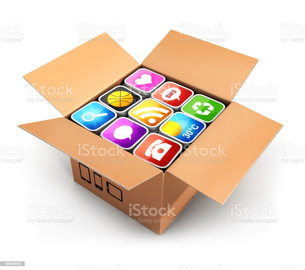 3d box with applications stock photo