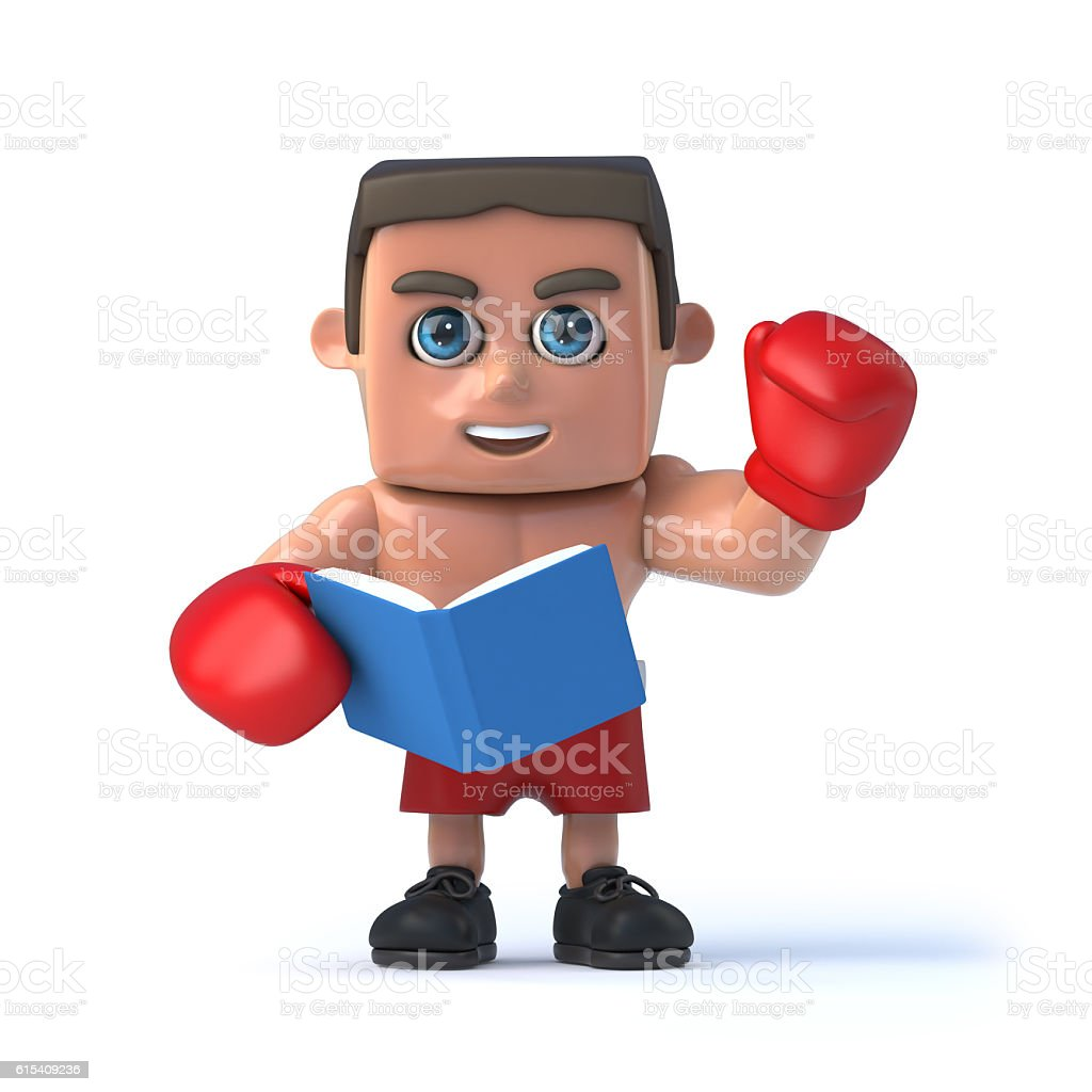 3d Boxer reads a book vector art illustration