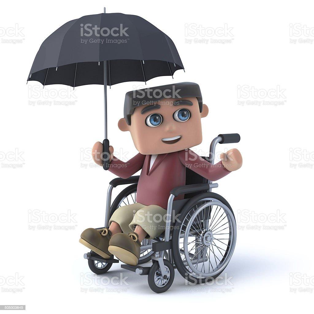 3d Boy in a wheelchair holding an umbrella royalty-free stock photo