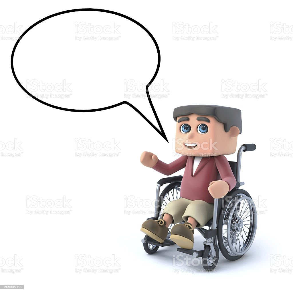 3d Boy in a wheelchair with speech bubble royalty-free stock photo