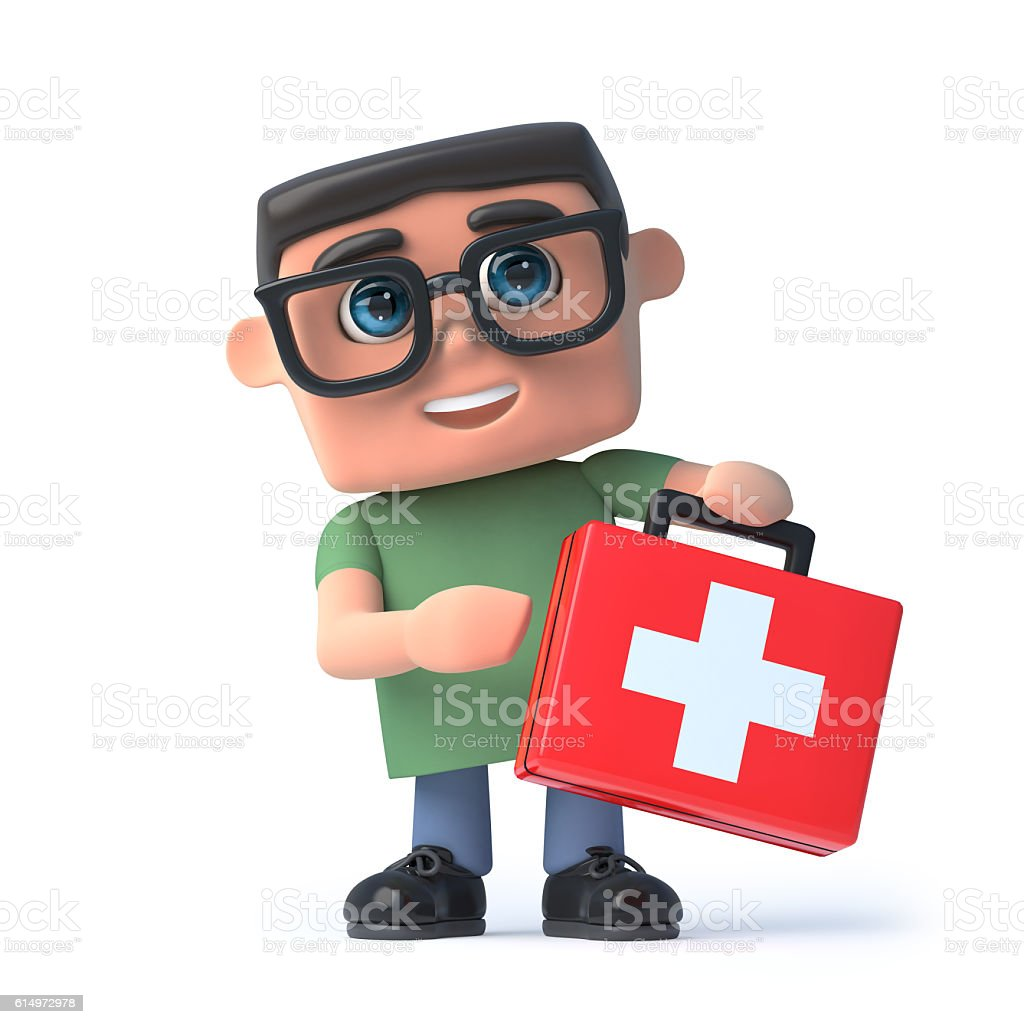 3d Boy in glasses holds a first aid kit stock photo