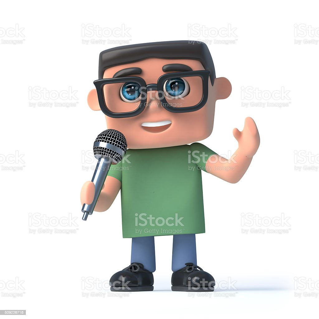 3d Boy in glasses sings into a microphone stock photo