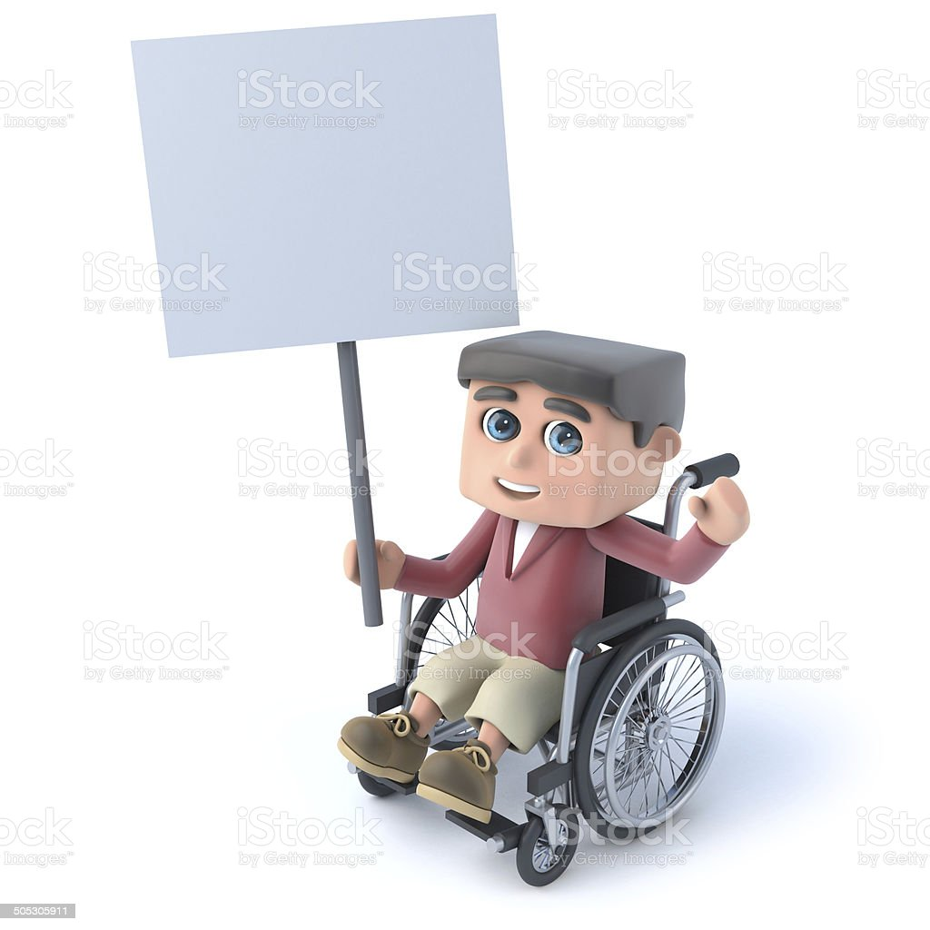 3d Boy in wheelchair holding a placard royalty-free stock photo