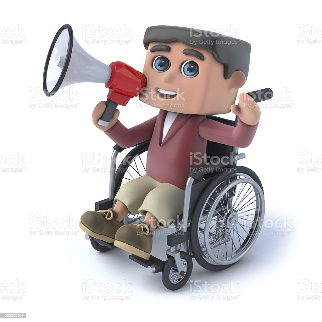 3d Boy in wheelchair speaking through megaphone royalty-free stock photo
