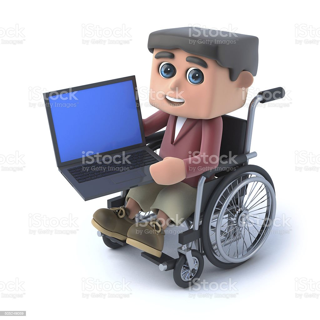 3d Boy in wheelchair using a laptop pc royalty-free stock photo
