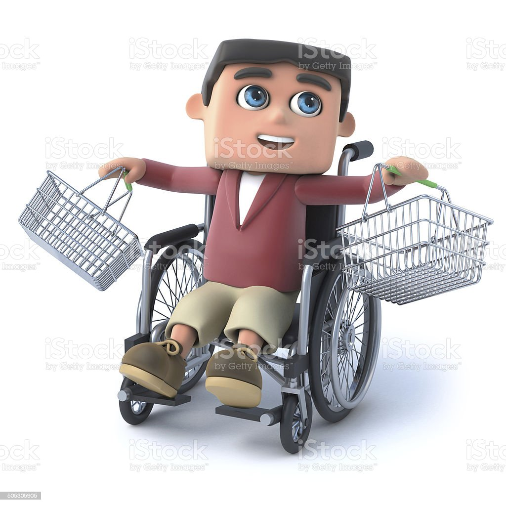 3d Boy in wheelchair with empty shopping baskets royalty-free stock photo