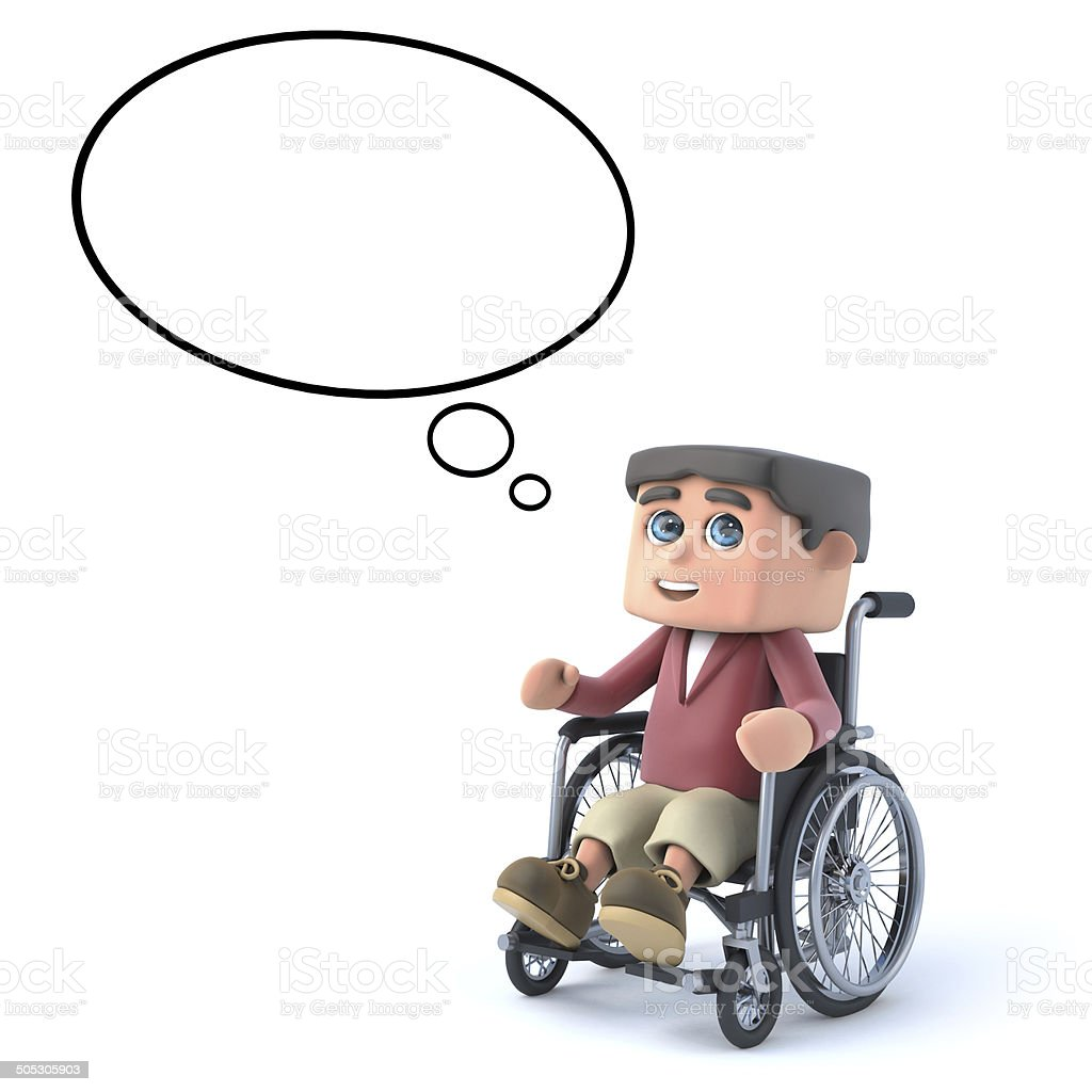 3d Boy in wheelchair with empty thought bubble royalty-free stock photo
