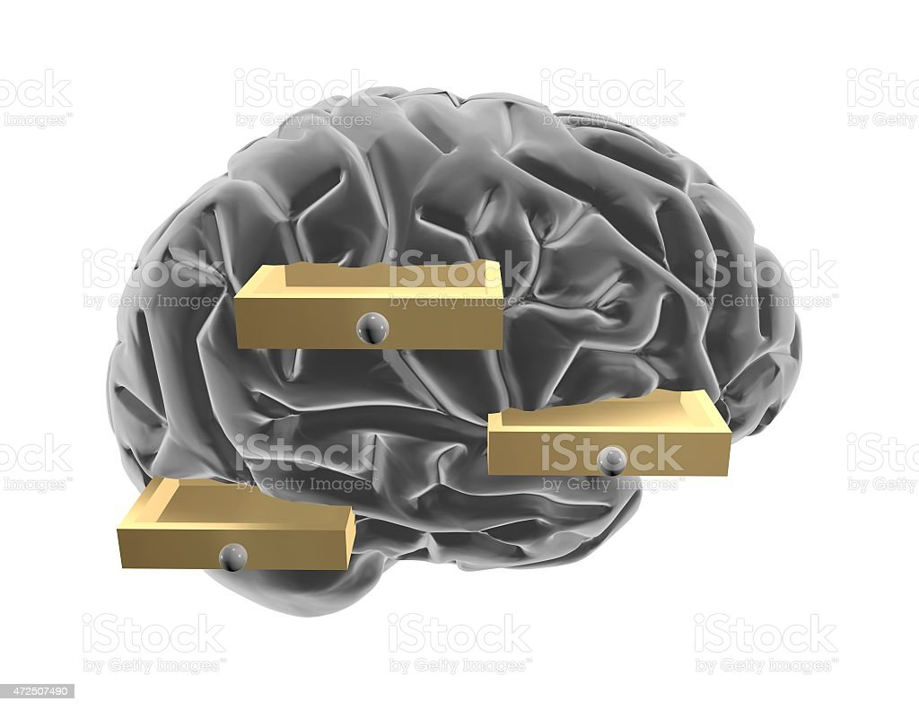 3d brain and drawers.  Thinking outside the box idea. vector art illustration