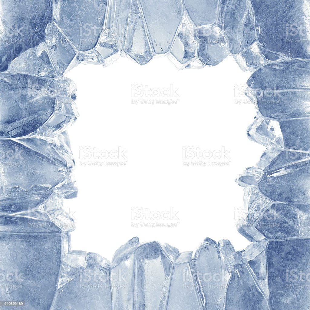3d broken blue ice background, square hole, frame stock photo