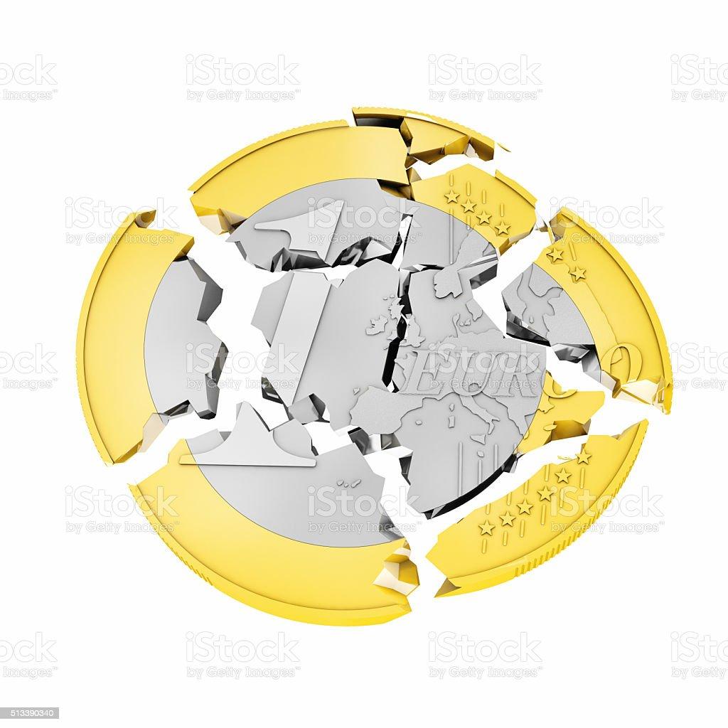 3d broken euro stock photo