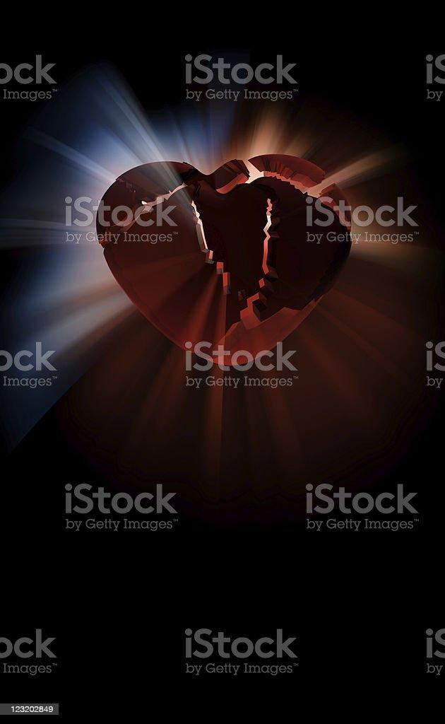 3d broken heart illustration royalty-free stock photo