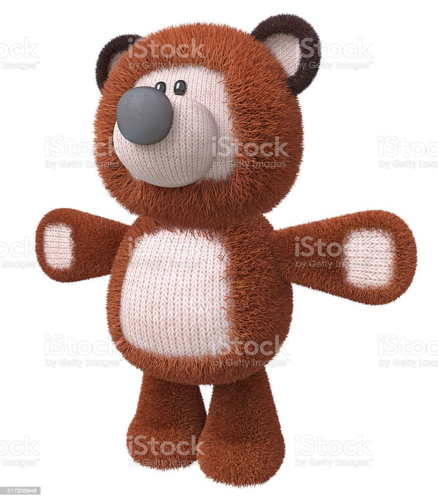 3d brown bear toy stock photo