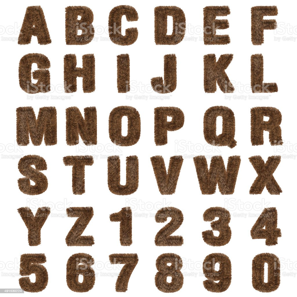 3d brown fur Font Style stock photo