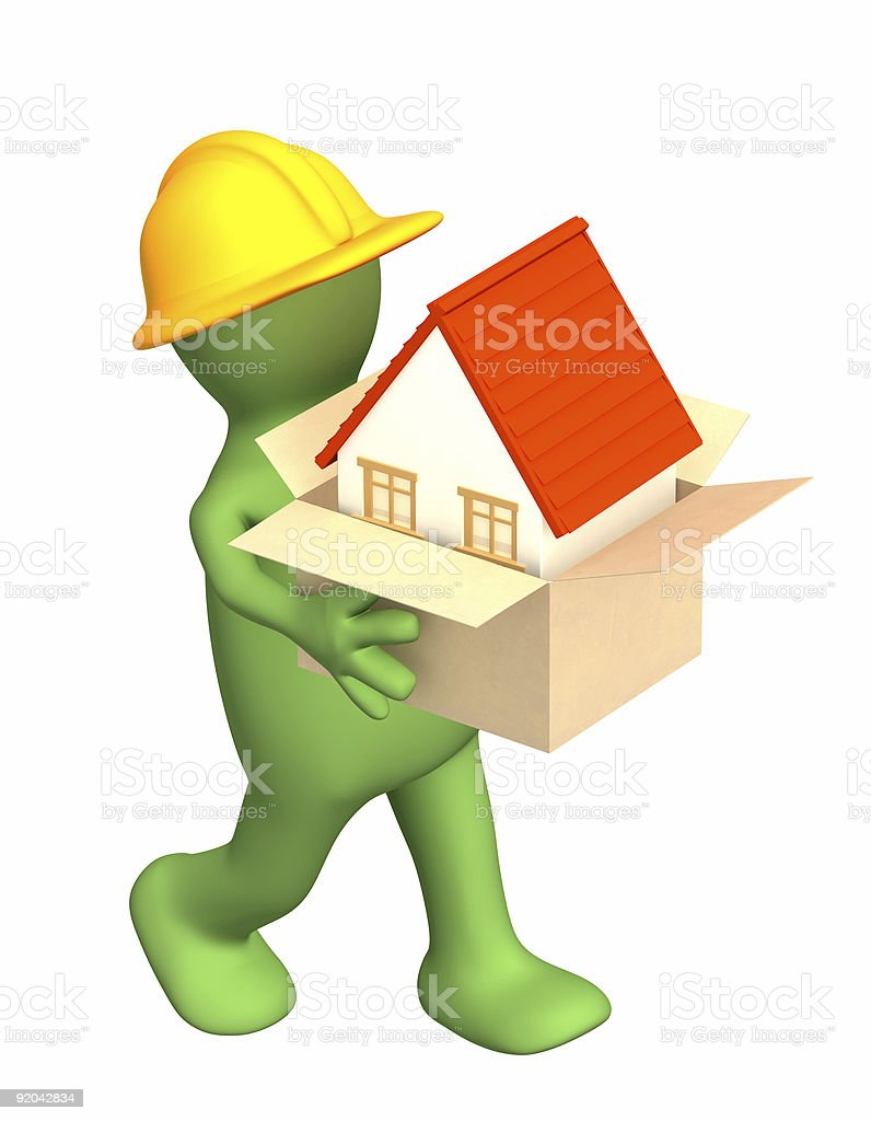 3d builder bearing a box with house in hands royalty-free stock photo