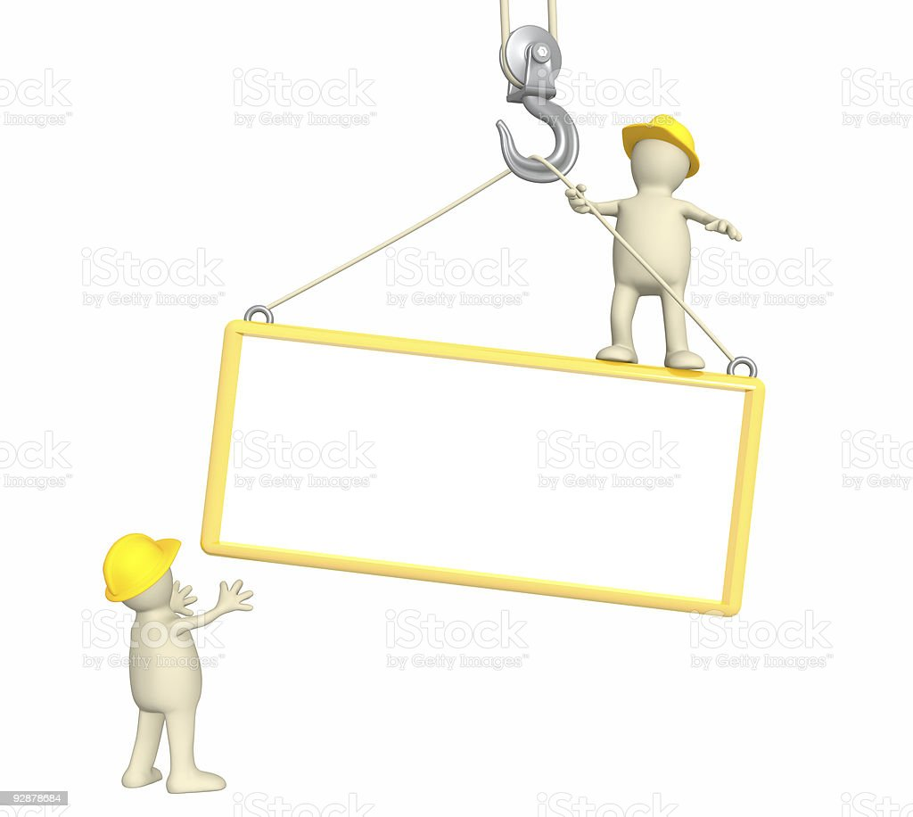 3d builders, lowering a frame on hook royalty-free stock photo