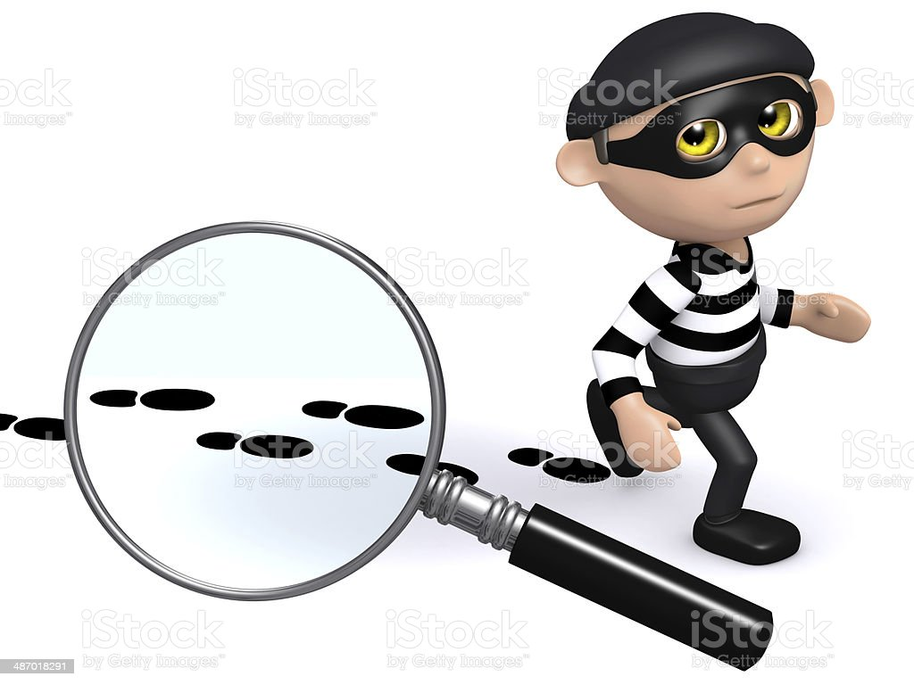 3d Burglar leaves a trail of evidence royalty-free stock photo