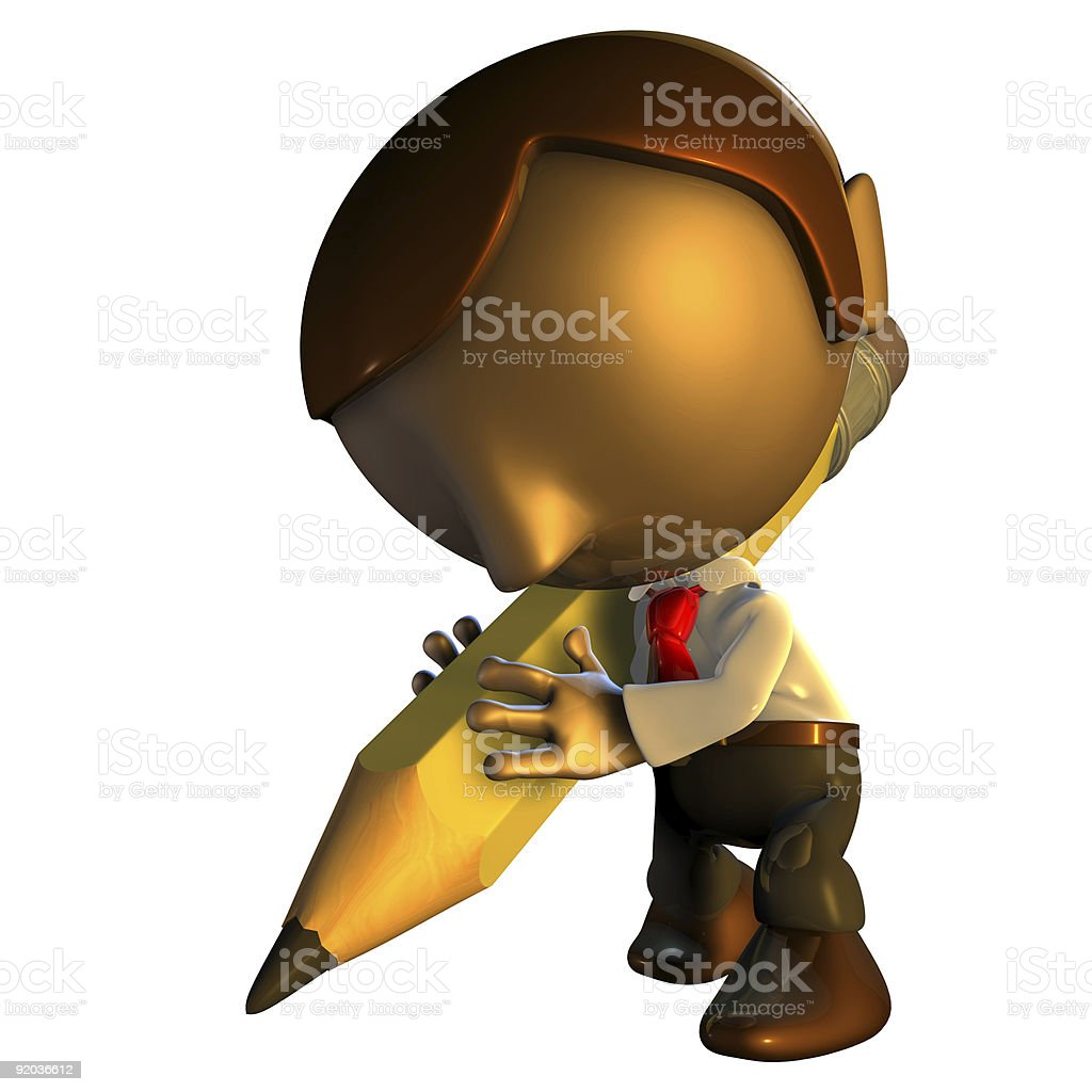 3d business man character with pencil royalty-free stock photo