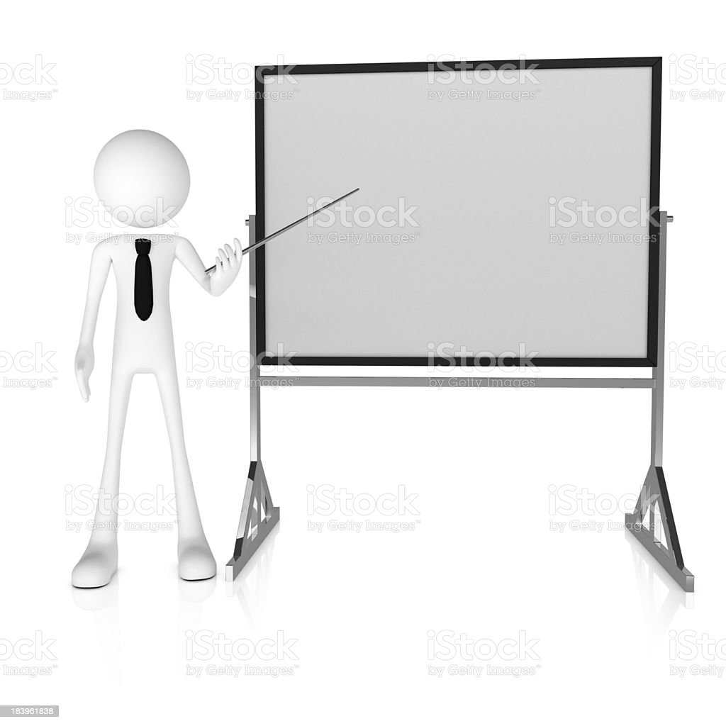 3d business man presenting with pointer and whiteboard royalty-free stock photo