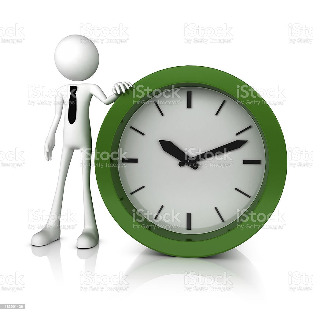 3d business man stand with green clock royalty-free stock photo