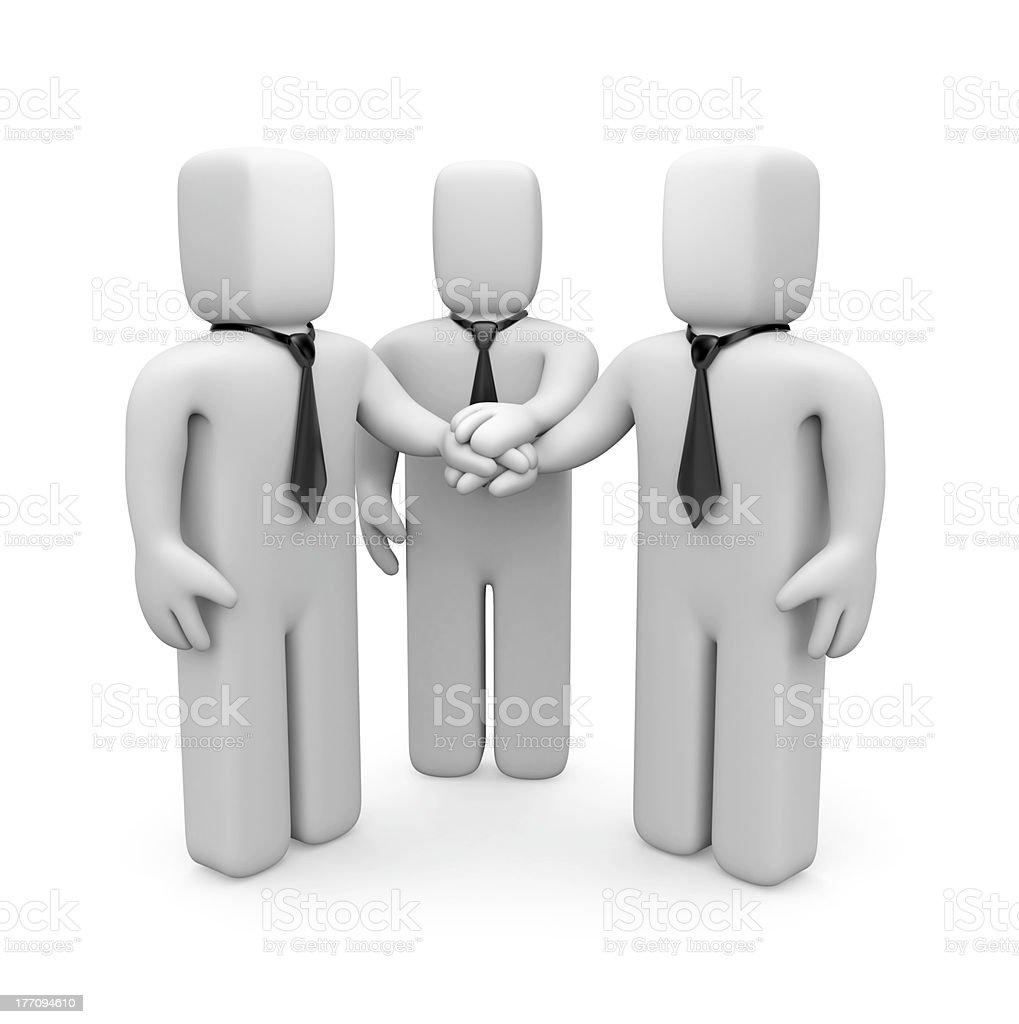 3d business people with hands on top of each other royalty-free stock photo