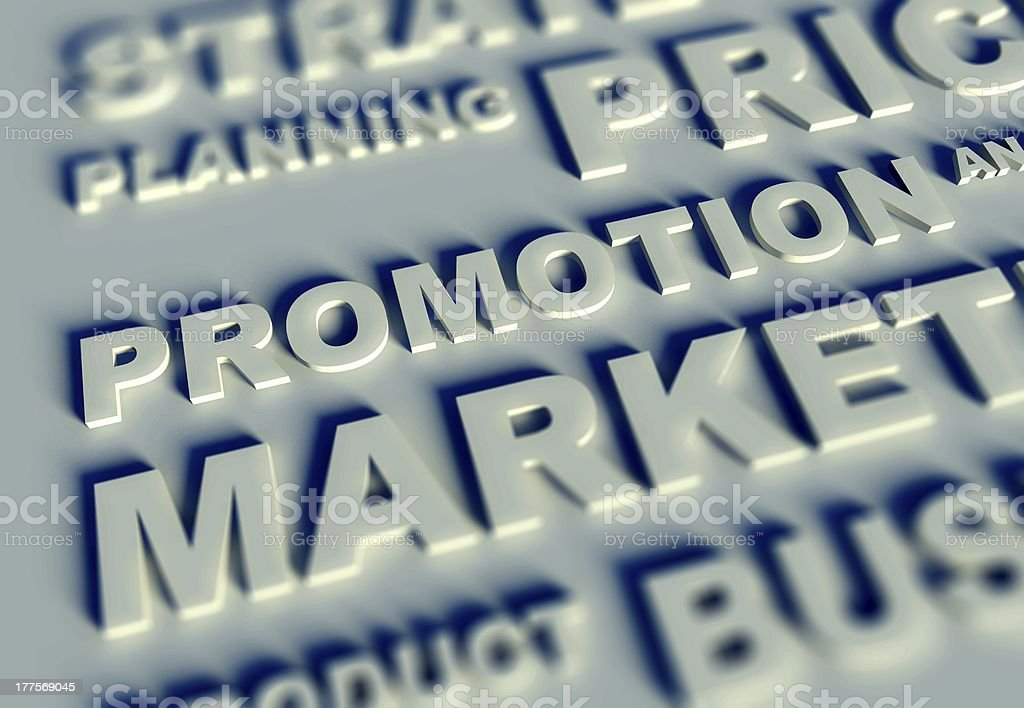 3d Business text table and promotion royalty-free stock photo