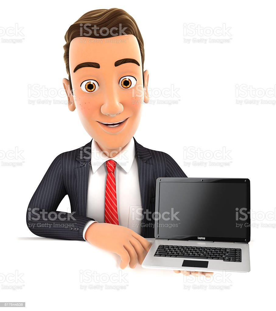 3d businessman behind wall holding laptop stock photo
