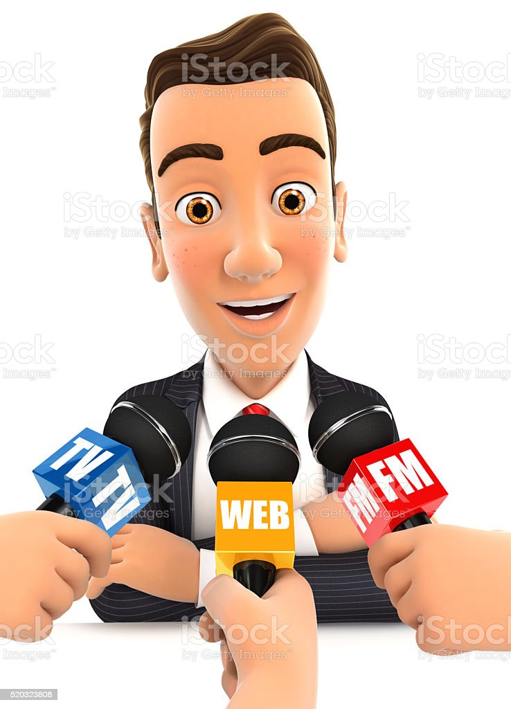 3d businessman being interviewed media stock photo