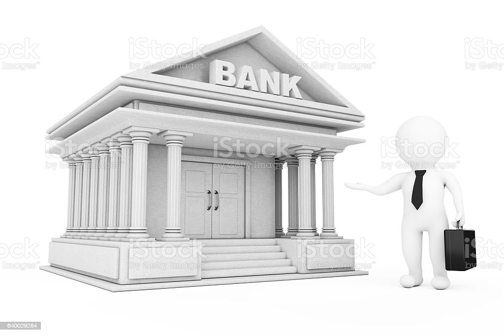 3d Businessman Characters Inviting in Bank Building. 3d Renderin stock photo