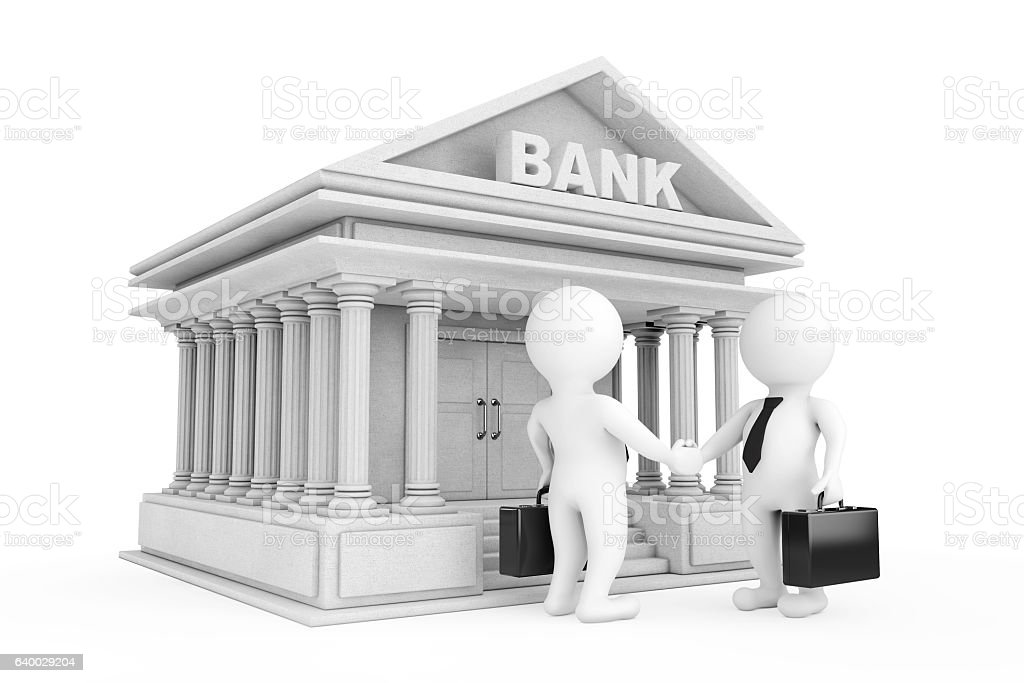 3d Businessman Characters Shaking Hands near Bank Building. 3d R stock photo