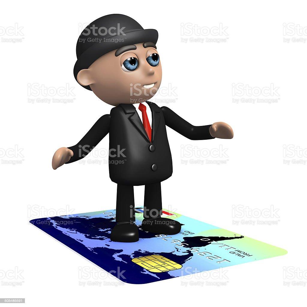 3d Businessman flies on a credit card stock photo