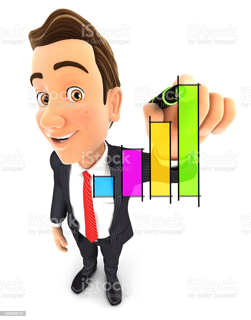 3d businessman hand drawn graph stock photo