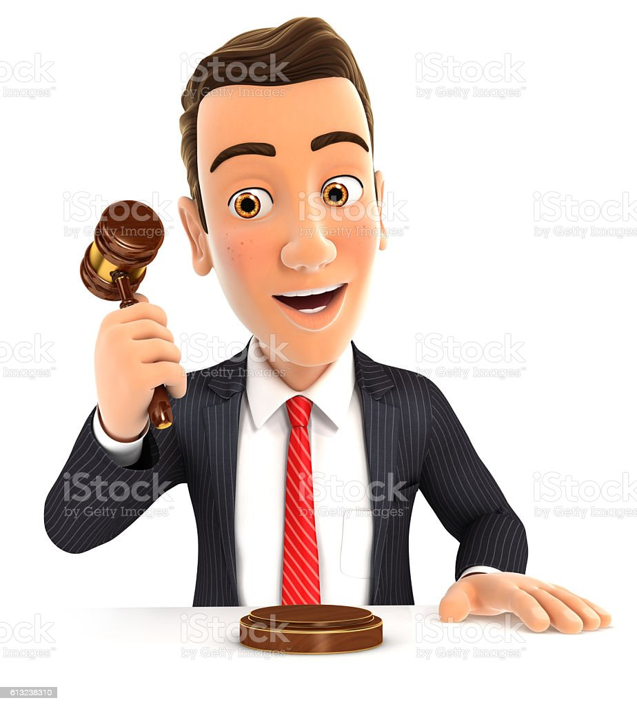 3d businessman hitting gavel stock photo