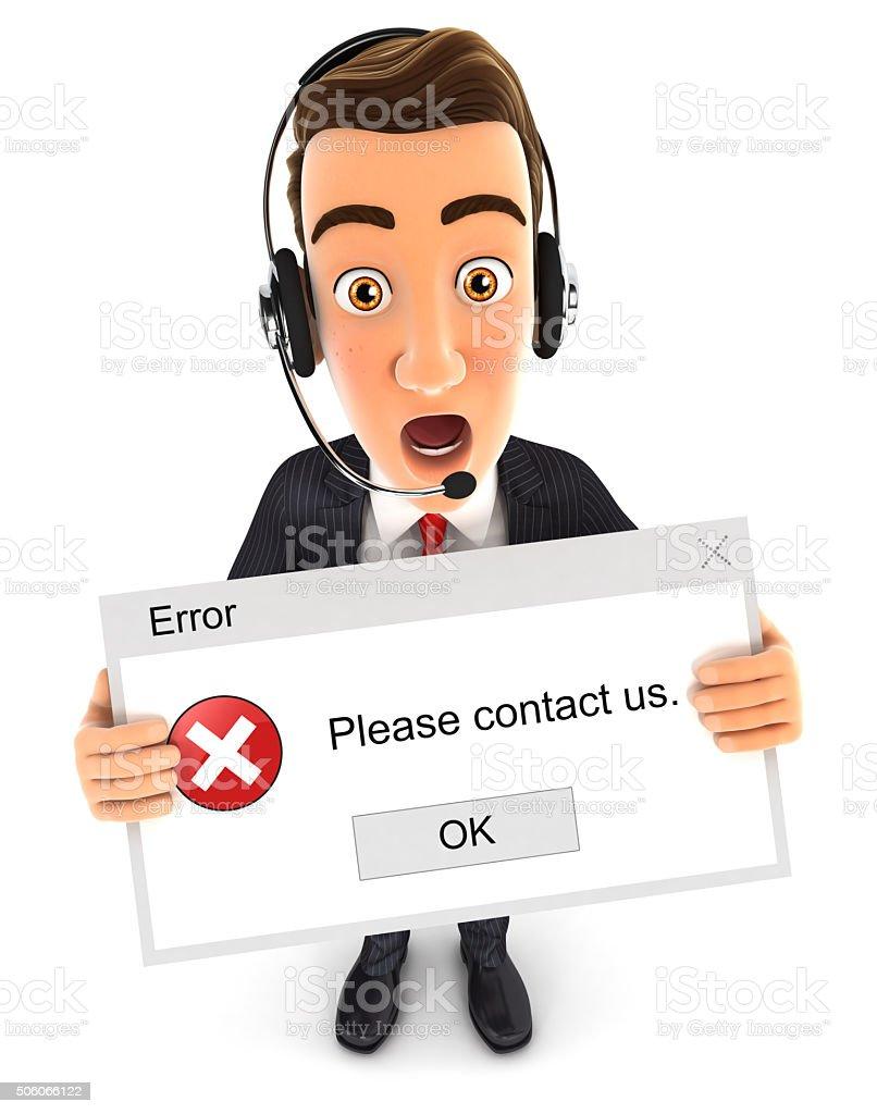 3d businessman holding an error message stock photo