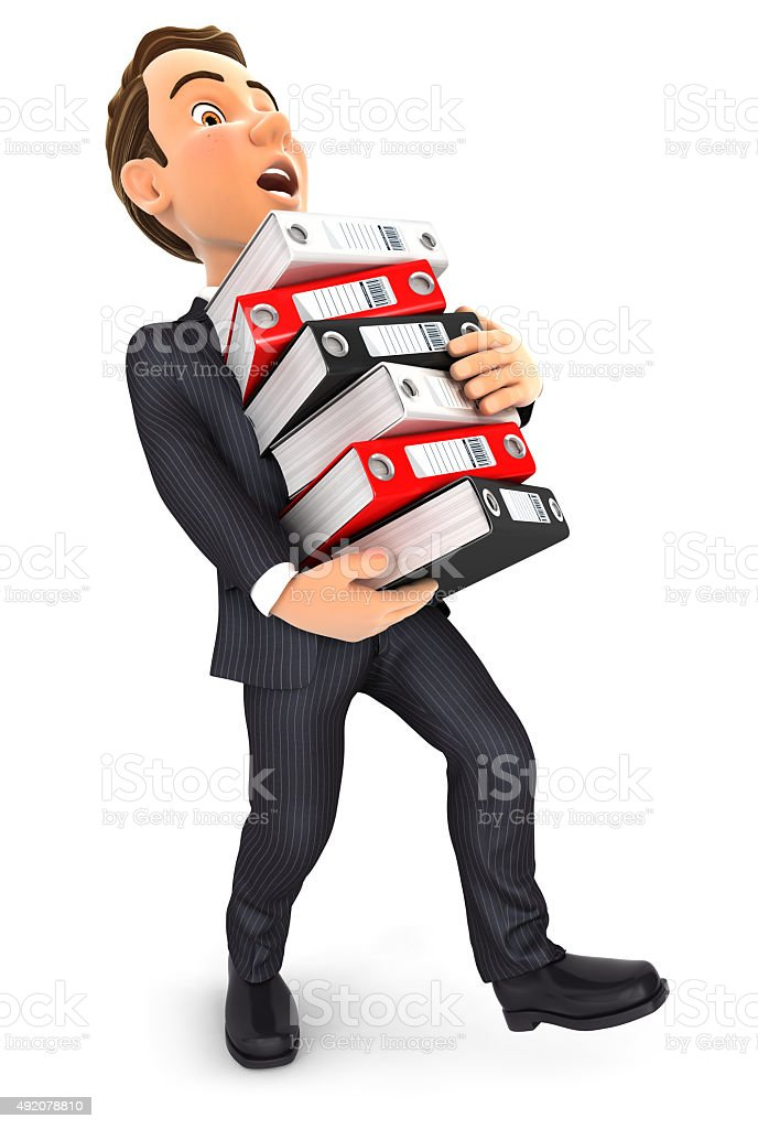 3d businessman overworked stock photo