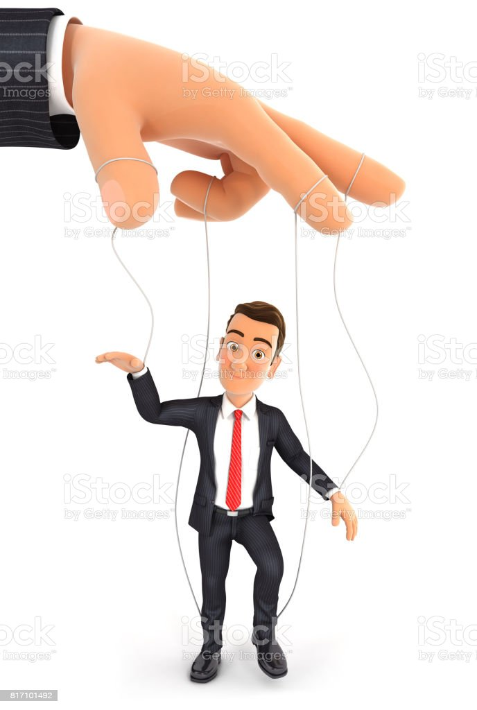 3d businessman puppet concept stock photo